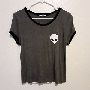 French Pastry Grey Alien Graphic T-Shirt Size L